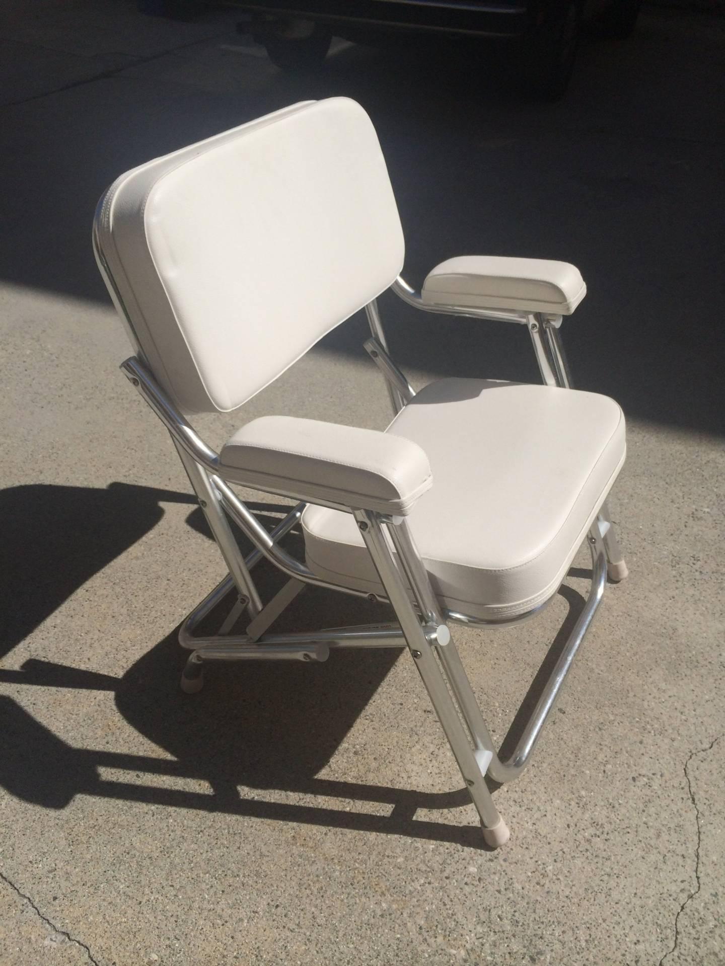 Two West Marine Aluminum Cushion Deck Chairs