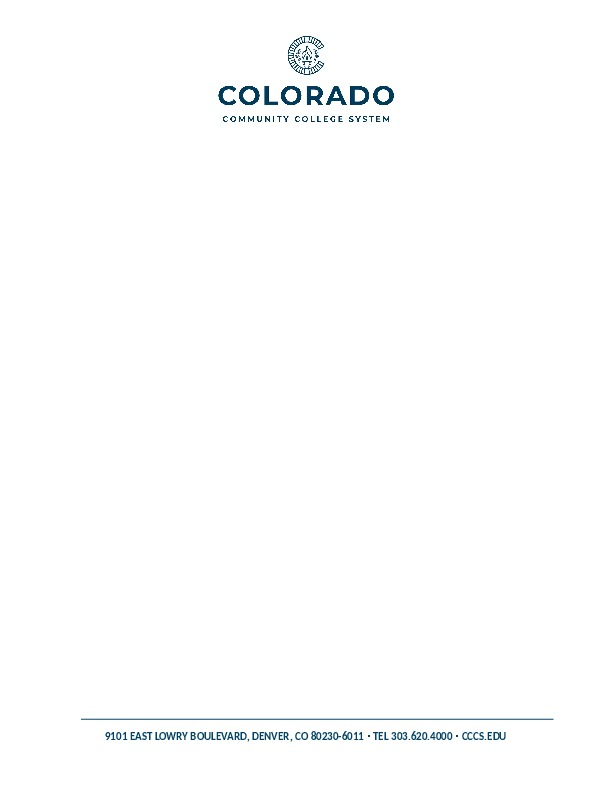 Letterhead - Colorado Community College System