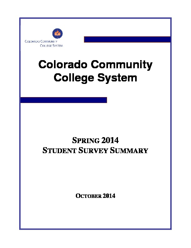Fast Facts and Student Survey - Colorado Community College System