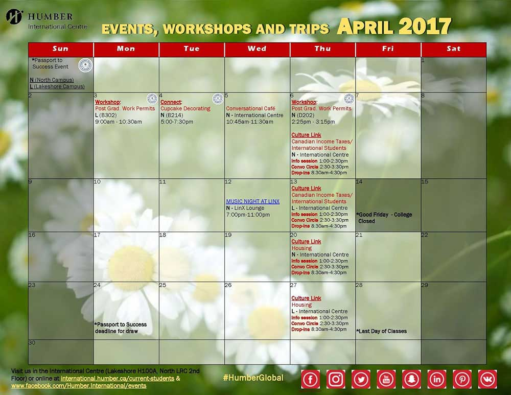 New Academic Calendar Humber New To Canada Humber College Spring Into Action Our April Calendar Is Here