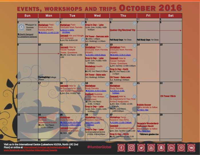 New Academic Calendar Humber Humber College Events Workshops And Trips October 2016