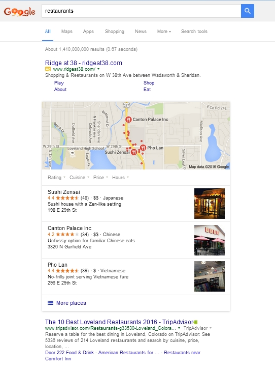 Google search for restaurants in 2016