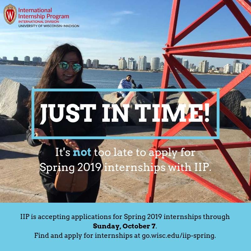 IIP Spring Internship Deadline \u2013 this Sunday, October 7th