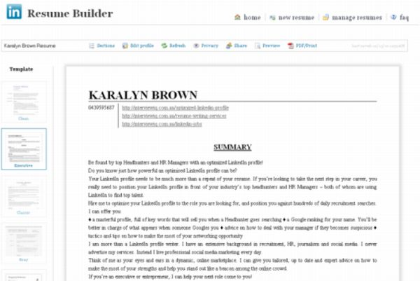 LinkedIn has a new resume feature, read about it here - linked in resume builder