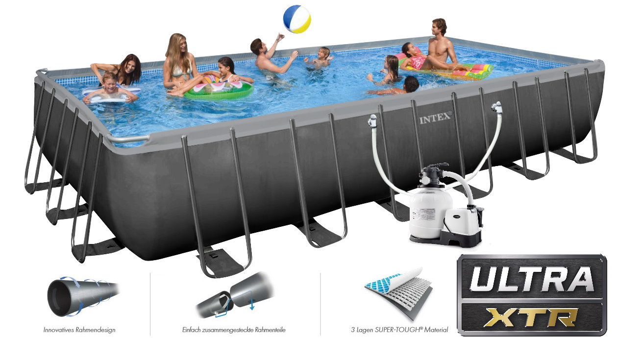 Pool Reinigungsset Mit Skimmer Intex Swimming Pool Ultra Frame 732x366x132 Chlorinator 26366