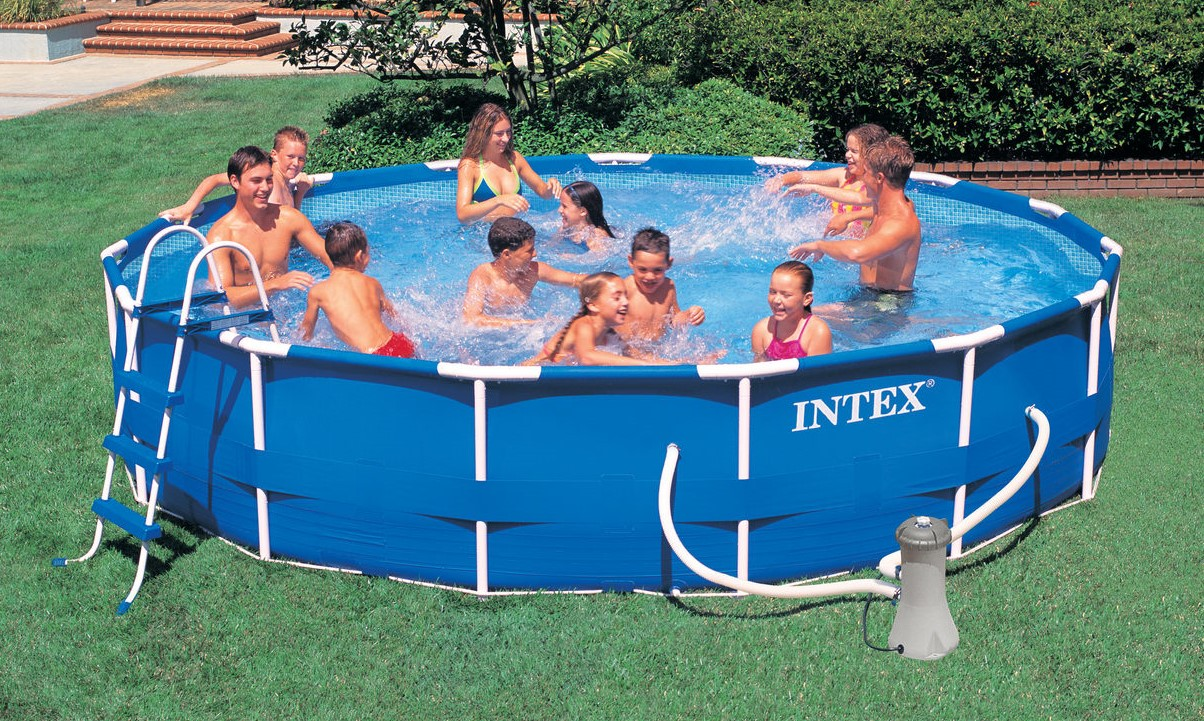 Pool Rund Komplett Intex Metal Frame Pool Komplett Set 457x84 Eco 28228