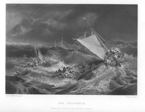 The Shipwreck, engraving by William Miller after J M W Turner