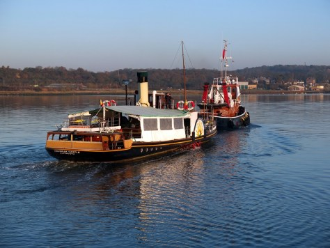 Kingswear Castle leaves the Medway under tow