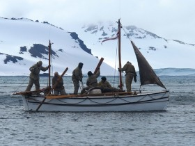 Alexandra Shackleton with crew aboard in traditional gear.  Image Jo Stewart Shackleton Epic