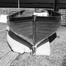 Rigdens-built dinghy on Alan Staley's stand
