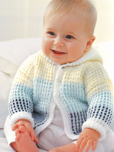 Hooded Cardigan for Baby Free Knitting Pattern | Free Baby and Toddler Sweater Knitting Patterns including cardigans, pullovers, jackets and more http://intheloopknitting.com/free-baby-and-child-sweater-knitting-patterns/