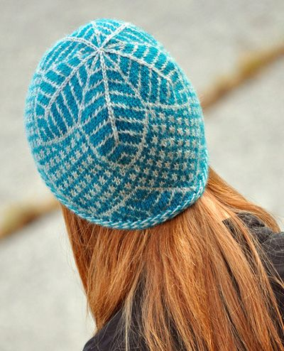 Free knitting pattern for leaf pattern beanie hat and more beanie knitting patterns