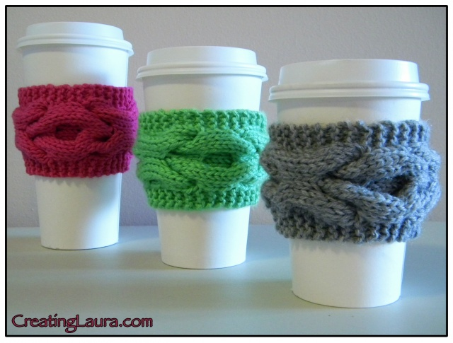 Free Knitting Pattern Coffee Cup Sleeve : Beverage Cosy Knitting Patterns In the Loop Knitting