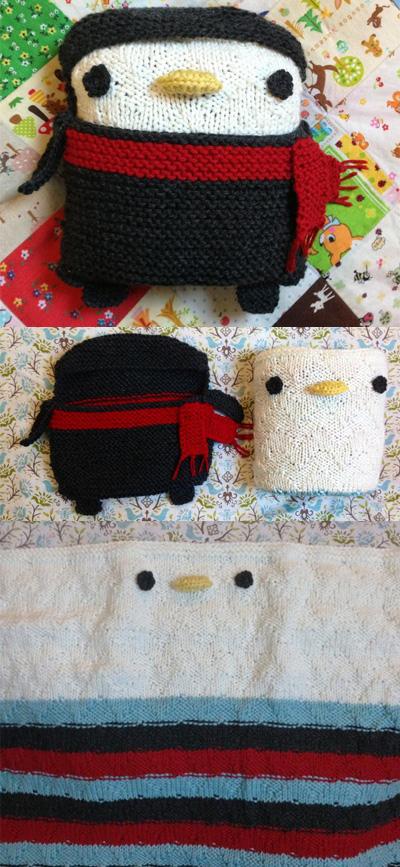 Free Knitting Pattern for Penguin Baby Blanket