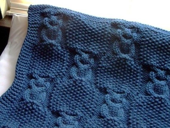 Knitting pattern for Sleepy Owl Blanket and more cable afghan knitting patterns