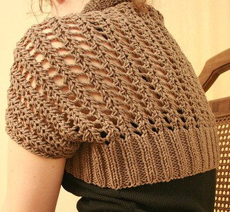 Free knitting pattern for Ribbed Lace Bolero -- knit a rectangle and seam