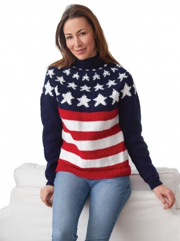 Free knitting pattern for Stars and Stripes Pullover sweater and more star knitting patterns