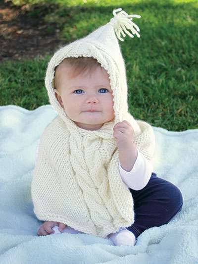 Knitted Baby Poncho Hood Pattern : Little One Hoodie Knitting Patterns In the Loop Knitting