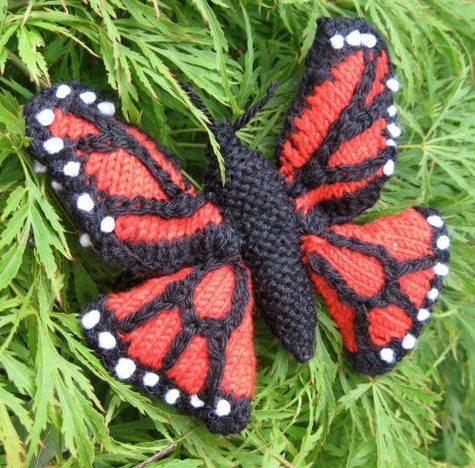 Knitting pattern for Monarch butterfly