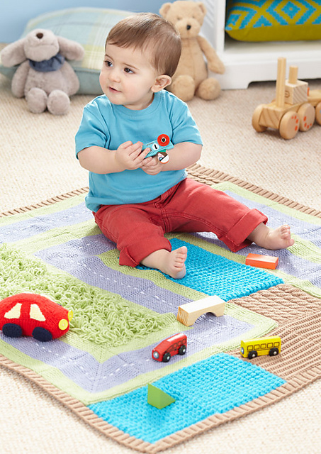 Knitting pattern for Road Map Playmat