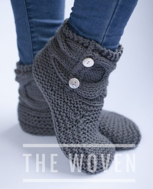 Boot Socks Knitting Pattern : Slipper Socks and Boots Knitting Patterns In the Loop Knitting