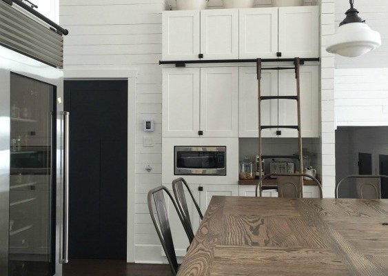 Farmhouse Cottage Kitchen with White Shiplap and Tall Cabinets