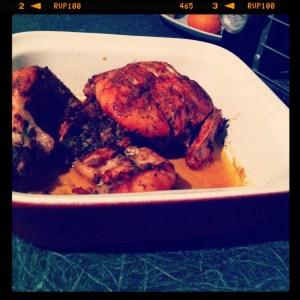 roast chicken in pyrex
