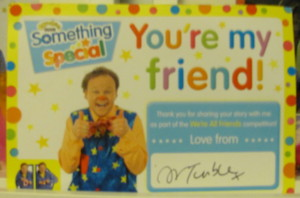 justin fletcher something special signed certificate you're my friend