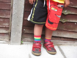 mismatched rainbow toddler