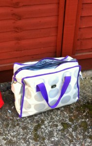 caboodle changing bag, spotty and purple