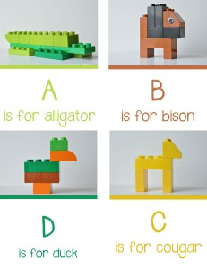 lego animal alphabet A-D fun literacy activities