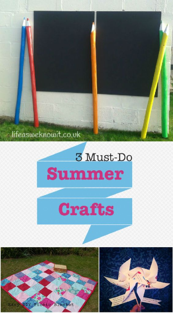 3 Must-Do Summer crafts: How to make giant pencils for the garden, a DIY picnic blanket and seaside pinwheels. As featured on the Tuesday Tutorials Pin Party
