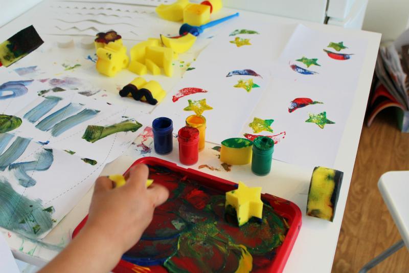 stars and crescents sponge painting ramadan activity