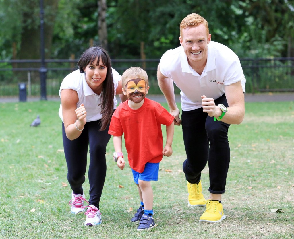 Greg Rutherford and Beth Tweddle at the launch for the LeapFrog LeapBand wearable activity tracker for kids age 4-7