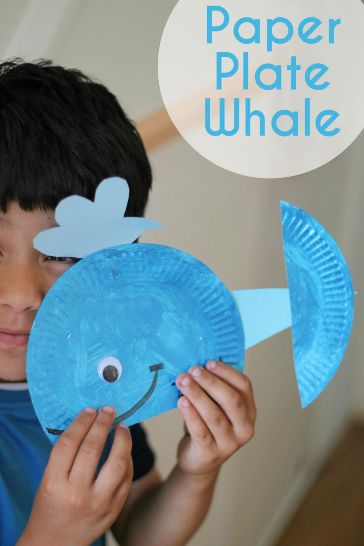 Paper plate whale in the playroom for Easy paper plate crafts