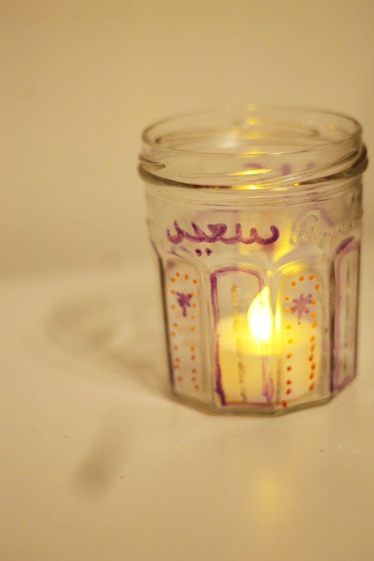 Decorated glass jar for eid candle
