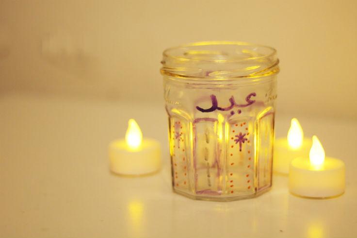 Decorated Eid Candle Jar