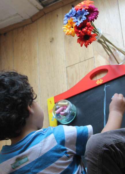 Giving meaning to mark making - early childhood art with chalk pictures
