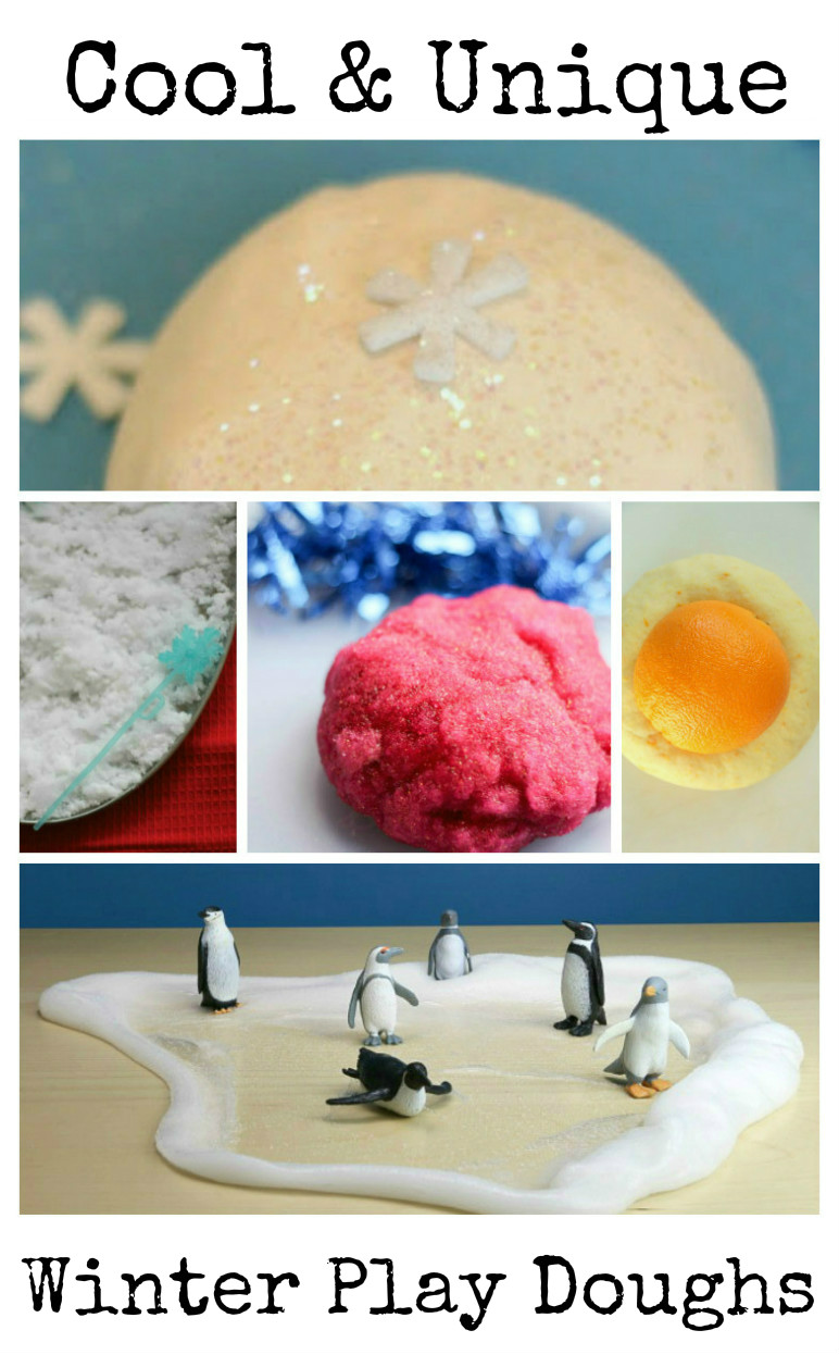 cool and unique winter doughs for kids to play with - gel dough, snow doughs and more fun ideas