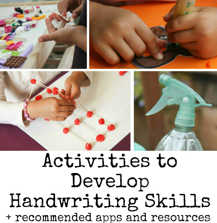 activities to help develop handwriting skills, plus some recommended resources and apps