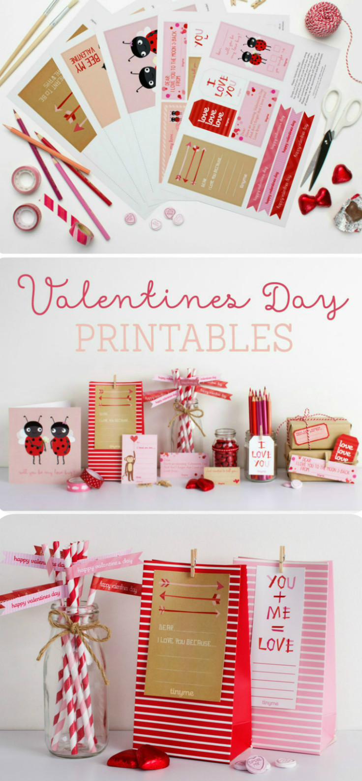 Free Valentines day printables pack with lunch box notes, Valentines day cards, Love coupons and more - These are so cute!