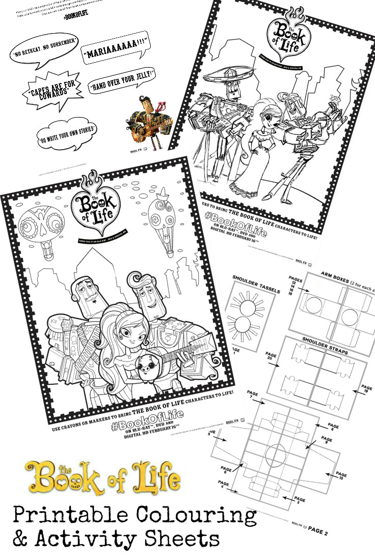 The Book of Life Printable activity sheets including colouring pages, sayings from the movie, and a DIY costume