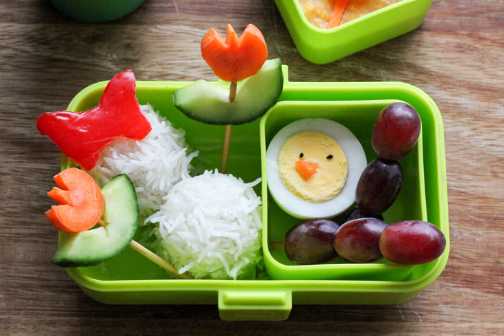 Spring bento lunch box with boiled egg chicks