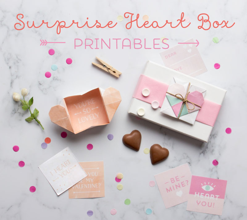surprise heart box origami printables