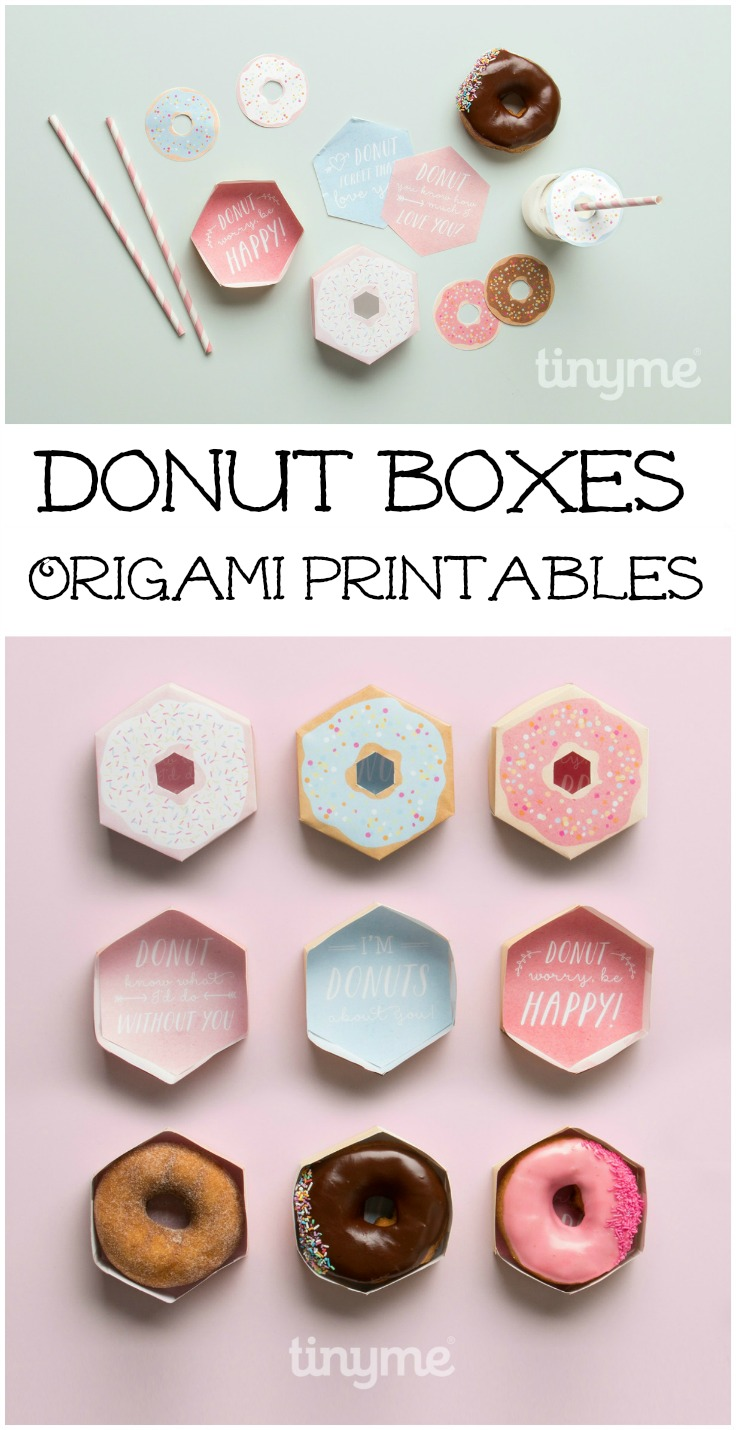 donut boxes origami printables. Print them out, and fold them up to create a simple donut gift box. These are so cute!