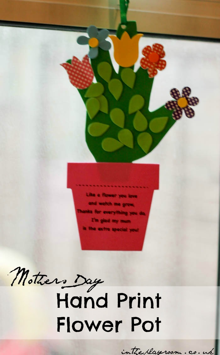 Baby Pen Play Handprint Flower Pot Craft For Mothers Day In The Playroom
