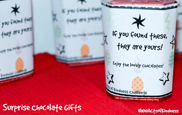 Surprise chocolate gifts for the 100 acts of kindness challenge. A simple and fun way to encourage kindness in kids