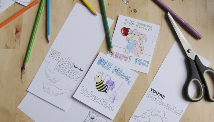 printable valentines cards for kids to colour