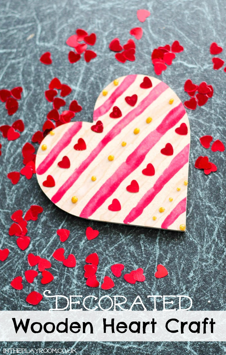 Decorated wooden heart craft for Valentines day