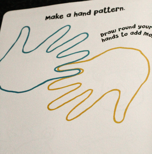 make a hand pattern from the doodle and draw book